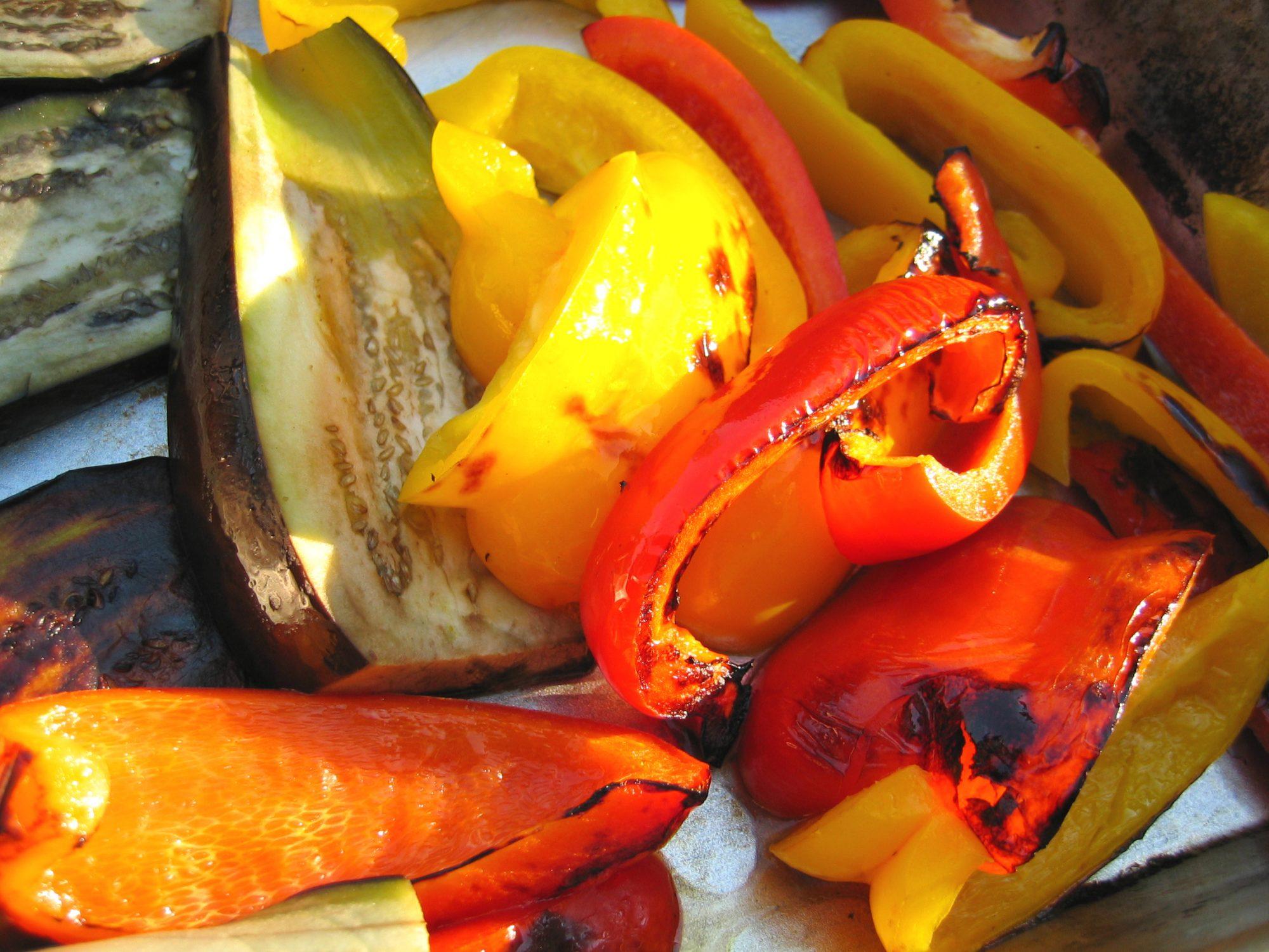 Средиземноморская диета. Запеченые овощи по-каталонски. Escalibada con queso de cabra.